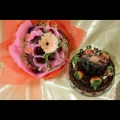 0cake with flowers bouquet