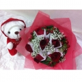 GF0366-roses bouquet with red sweater bear
