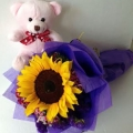 GF0796-soft toy teddy bear with sunflower