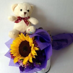 GF0900-soft toy teddy bear in a sunflower