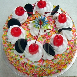 OC0184V-Vegetarian Eggless Colourful Rice Birthday Cake