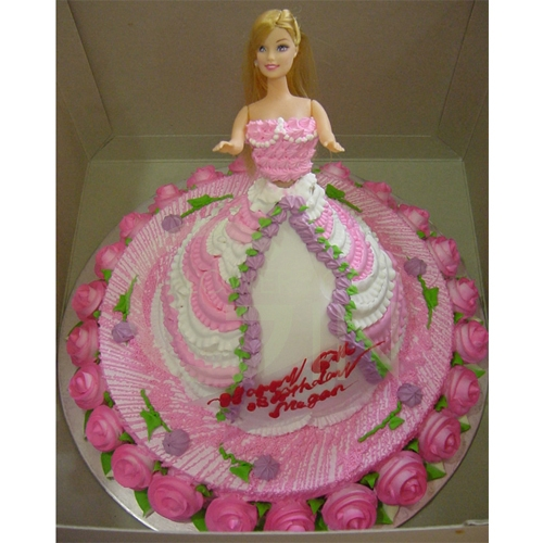 Birthday Cake Images Doll : 1-OC0260-Pink Doll Birthday Cake