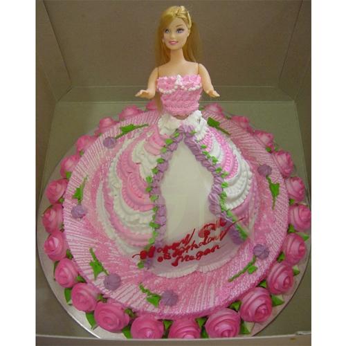 Gf0260 Pink Doll Birthday Cake