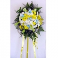 QF0200-White Yellow Pom Pom with Lilies