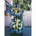 QF0408-White Pom Pom Pink Roses Wreath