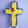 QF0591-funeral flower cross stand wreath