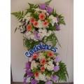 QF0641-White Pom Pom Gerberas Wreath