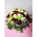 QF1143-White Red Rosy Table Arrangement