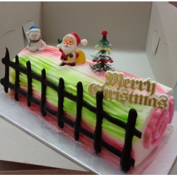 CX0511-Rainbow christmas log cake